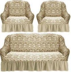 💣Euro καλύπτει για τον καναπέ + 2 καρέκλες με floral εκτύπωση