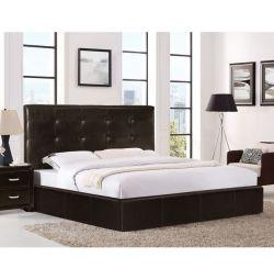 Κρεβάτι Gardenia με Αποθηκευτικό Χώρο σε Καφέ PU 1