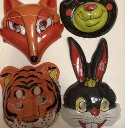 Maski.lisa.tigr, hare, wolf, bear, cat, chicken, mouse