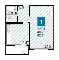 Apartment, 1 room, 42 m²
