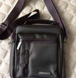 Ανδρική τσάντα, testil, καφέ / Χακί