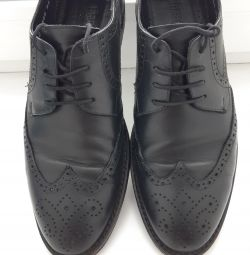 Ανδρικά δερμάτινα παπούτσια μαύρα 40τ