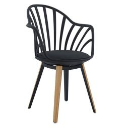 HM8049.02 ANAIS BLACK WITH WOODEN ARMCHAIR