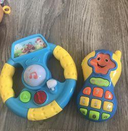 Steering wheel and telephone