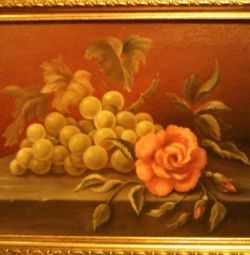 Oil painting. Still life with grapes