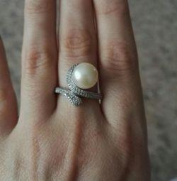 Ασημένιο δαχτυλίδι με μαργαριτάρια