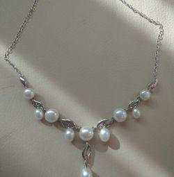 Colier de argint colier 925 perla