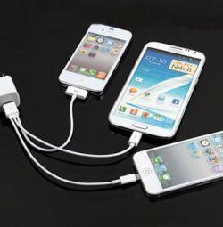 Универсальный кабель 3 в 1 iPhone 5 6 4 usb