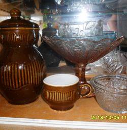 Κεραμικά: κηροπήγια, κανάτα, κούπες, βάζο