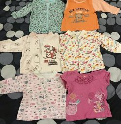 Baby's undershirts for girls from 1-4 months (package)