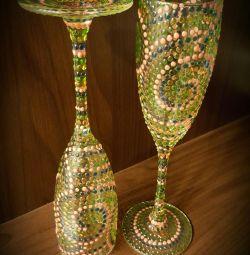Pahare de șampanie realizate manual