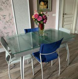 Folding glass table