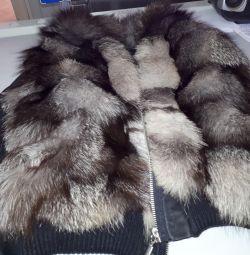 Fur Leather Sleeve Jacket