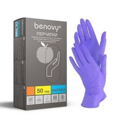 Перчатки BENOVY Nitrile PC, Голубые, S,M,L 50 пар