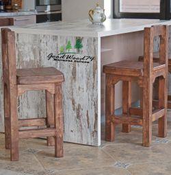 Scaune de bar din lemn masiv