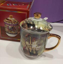 Ceașcă de ceai cu capac și strecurătoare