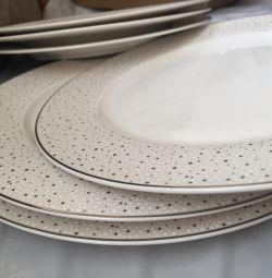 Тарелки для 2 блюд, 26 см ,с зол. окант.,6 шт