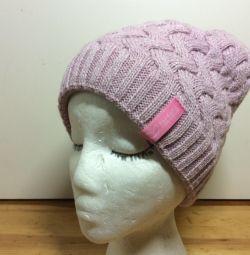 Очаровательная шапочка нежно-розового цвета,арт291