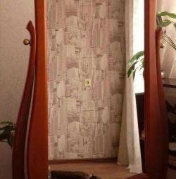 Oglindă, lemn natural