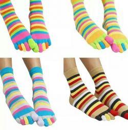 Socks adults 5 fingers colored