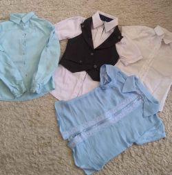 Сорочки шкільні + жилетка