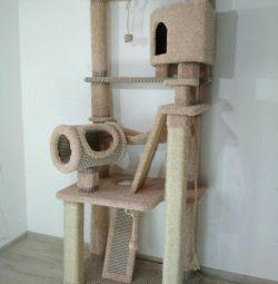 Когтеточка, комплекс для кішки з будиночком