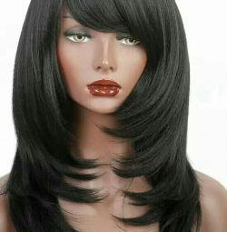 Μια νέα μαύρη περούκα. Kanekalon. Η υψηλότερη ποιότητα.