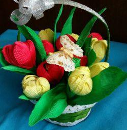 Ανοιξιάτικο γλυκό μπουκέτο από 15 τουλίπες