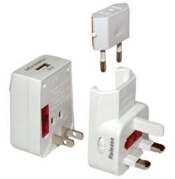 USB ile evrensel adaptör (seyahat usb adaptörü)