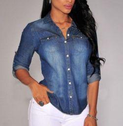 Джинсовая рубашка-блузка, р.46-48