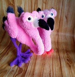 Flamingo family, handmade