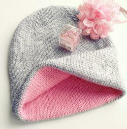 Double-sided beanie hat (handmade)