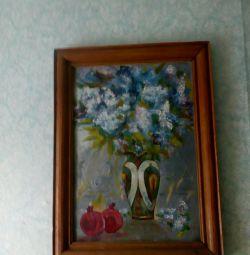 Pictura în ulei de pânză 58 de 42 cm.