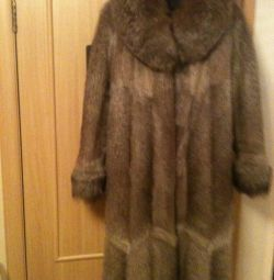 New fur coat with nut collar with Arctic Fox collar