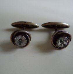 Gümüş Yapay Elmas Vintage Kol Düğmeleri