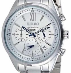 Seiko Unisex's White Dial Stainless Steel Band Wat