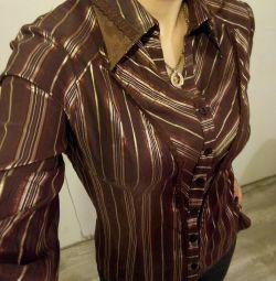Блузка женская коричневая в золотую полоску