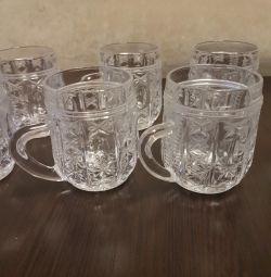 Mugs are crystal. 11 pcs.