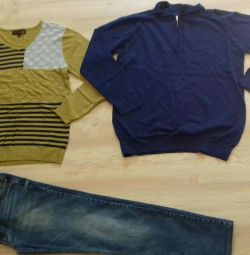 New sweaters and jeans