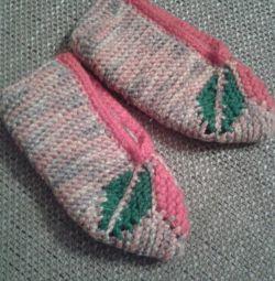 Knitted slippers-socks