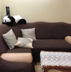 ВEuropeal for corner sofa color milky, green