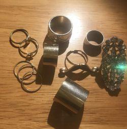 11 inele de diferite forme, inele accesorii, ornamente
