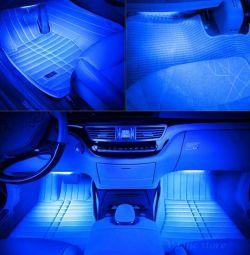 Подсветка салона автомобиля - синий цвет