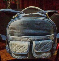 Τσάντα Denim, λαβή και ζώνες