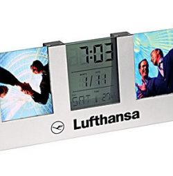 Photo frames with a clock, calendar and thermometer