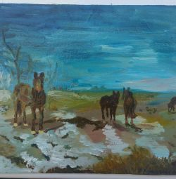 Ελαιογραφία τοπίο με άλογα