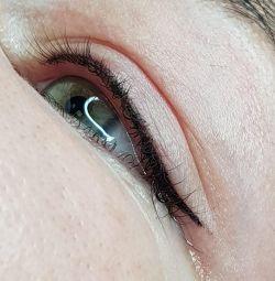 Powder eyebrow tattoo, between the cilium, lips