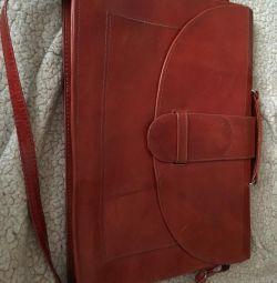 Портфель-папка кожаный