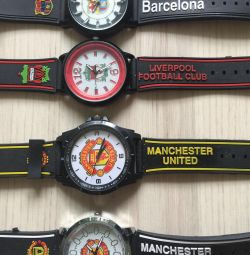 With symbols of football clubs