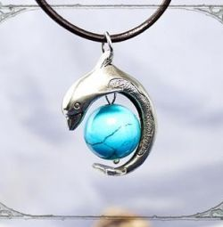 dolphin pendant with turquoise
